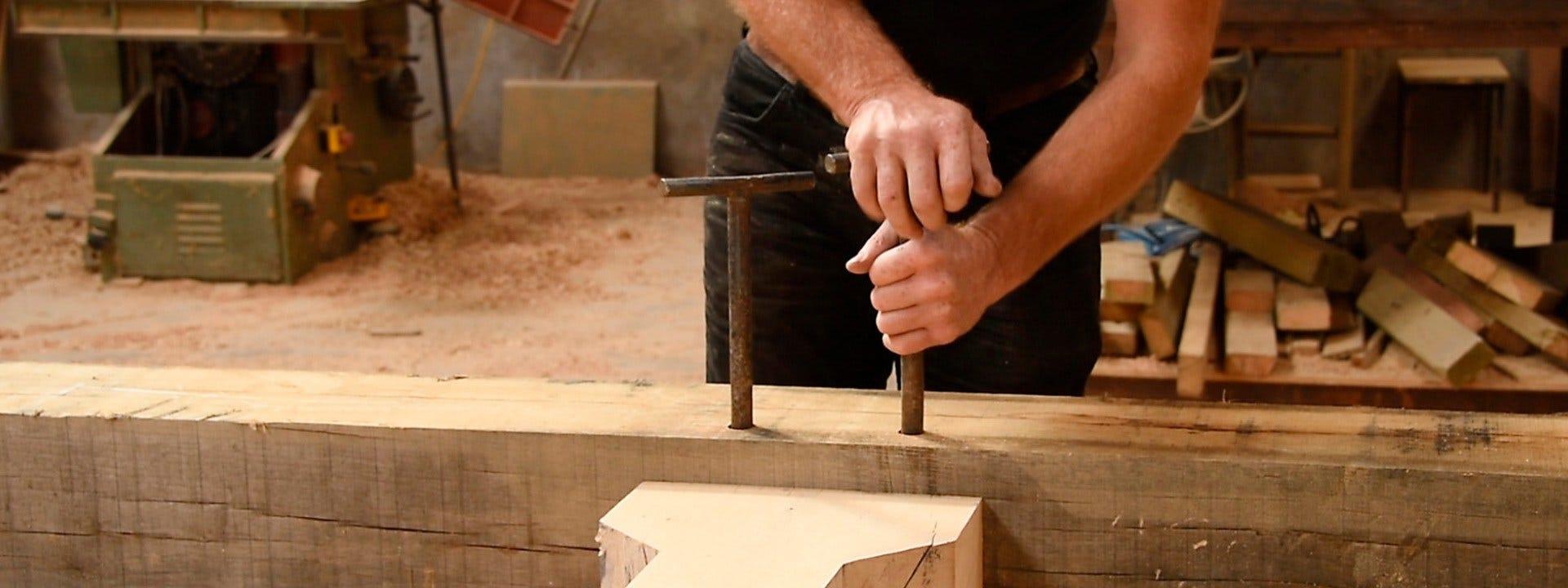 Wood-Mizer LT40 owner at his carpentry shop