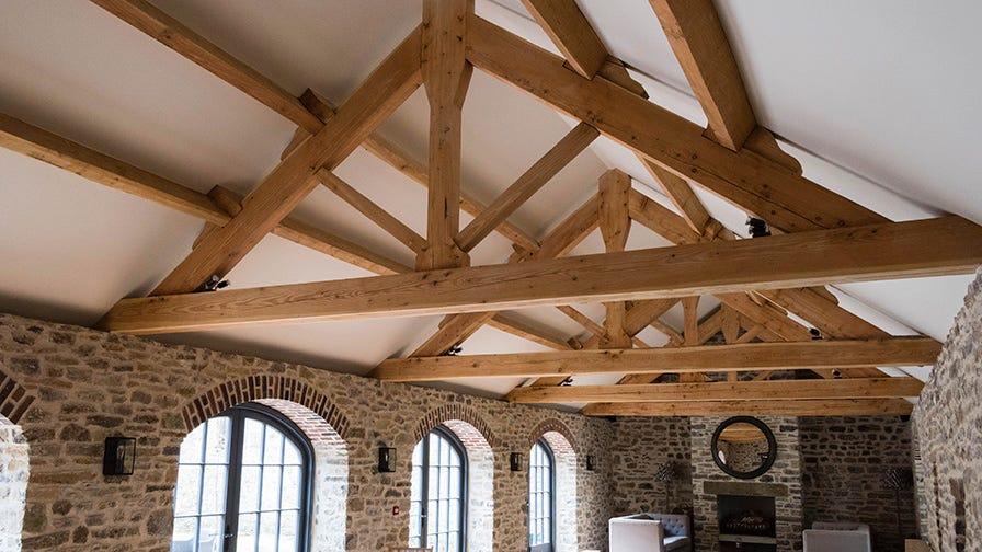 Timber framed roof built in Masham, UK