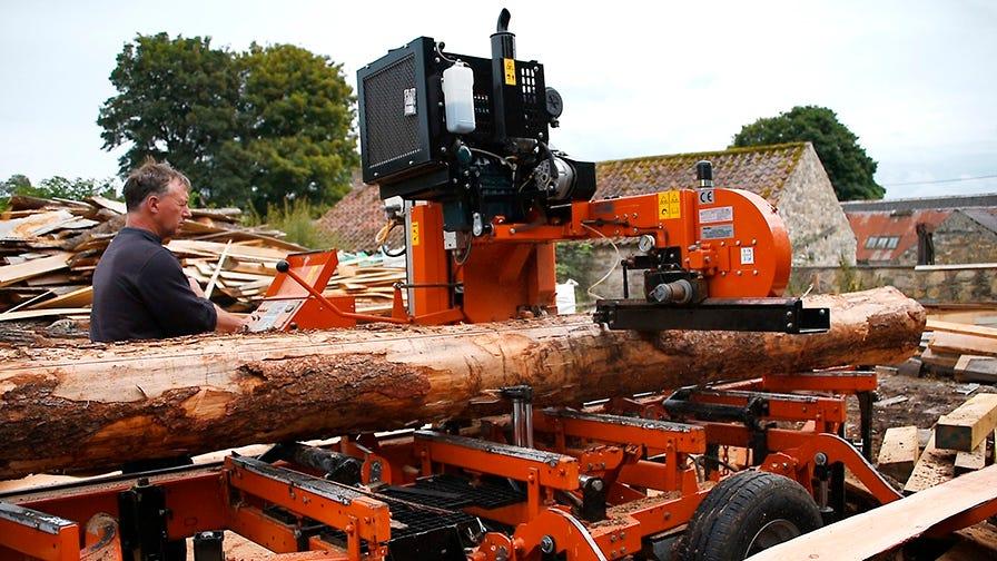 Wood-Mizer LT40 sawmill is portable and fully hydraulic.
