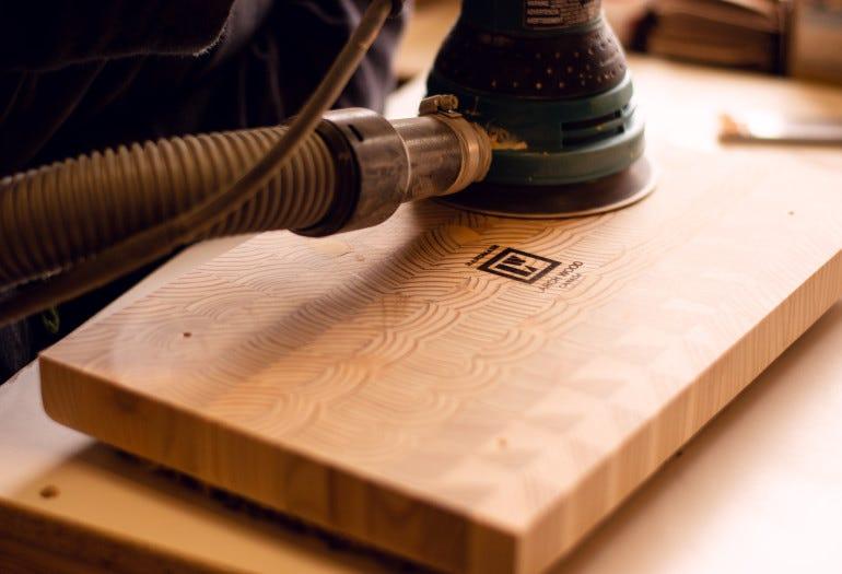 End grain cutting boards crafting steps