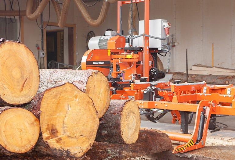 Wood-Mizer LT40 sawmill at MasterParkett workshop