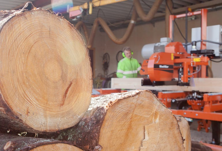 Nils Ohlin operates LT40 sawmill