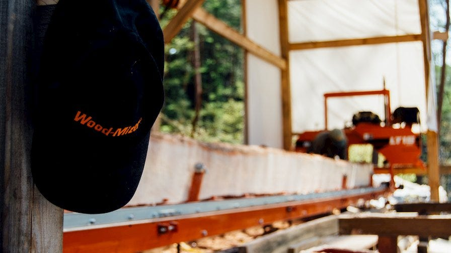 LT15 portable sawmill in Japan with Wood-Mizer hat